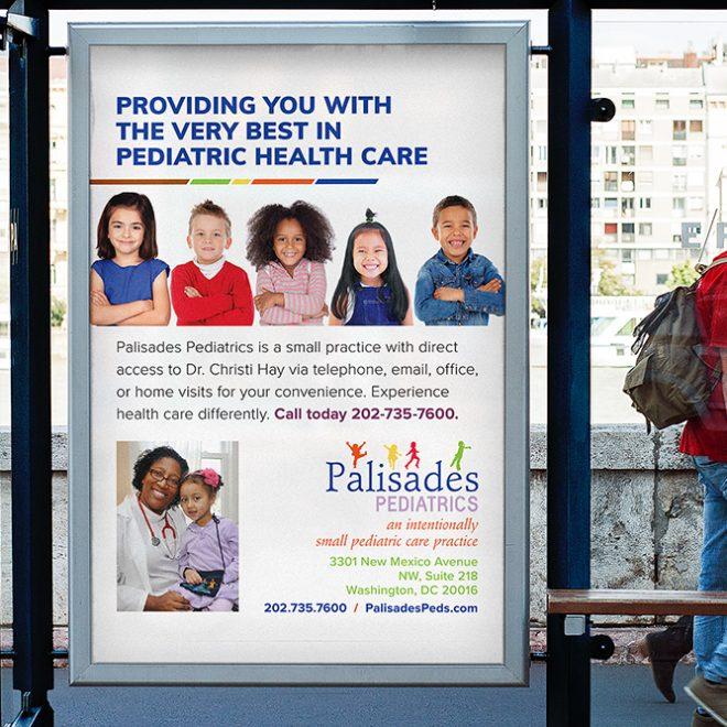 Logo Refresh - Palisades Pediatrics - Bus Stop Display