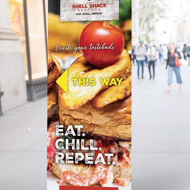 Restaurant Branding | The Shell Shack Seafood Directional Banner