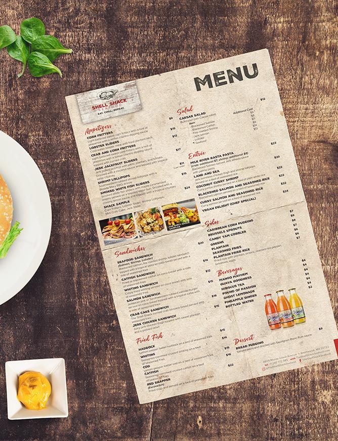 Restaurant Branding | The Shell Shack Seafood Menu